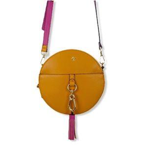 Caramel tan vegan leather circle round crossbody